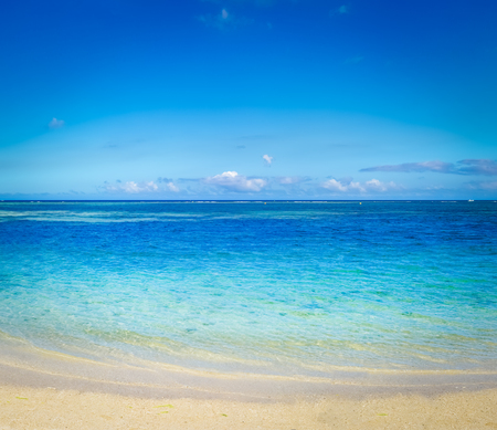 Sandy tropical Wolmar beach at sunny day. Beautiful landscape. Mauritius Stock Photo