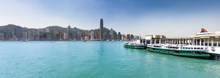 Panoramic view of Hong Kong City. Ferry terminal on the foreground. Skyline Panorama 版權商用圖片