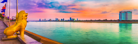 Phnom Penh riverside at sunrise. Cambodia. Panorama