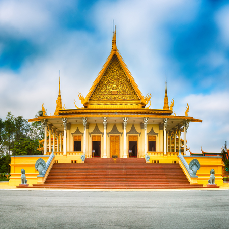 The throne hall inside the Royal Palace complex in Phnom Penh, Cambodia. Famous landmark and tourist attraction
