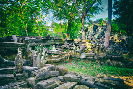 Beng Mealea or Bung Mealea temple at morning time. Siem Reap. Cambodia 免版税图像