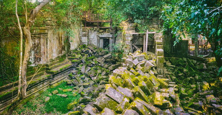 Beng Mealea or Bung Mealea temple at morning time. Siem Reap. Cambodia. Panorama
