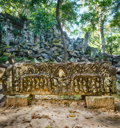 Bas-relief at Beng Mealea or Bung Mealea temple. Siem Reap. Cambodia.