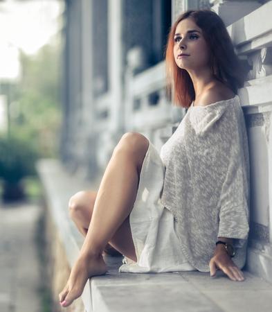 Portrait of a beautiful sexy woman outdoor. Archivio Fotografico