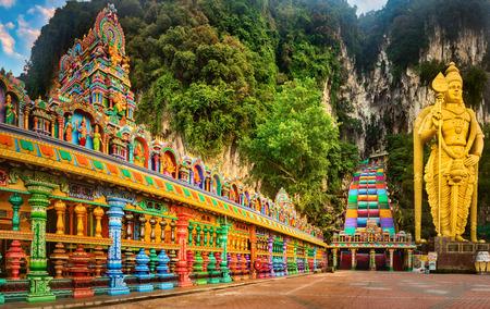 Beautiful view of colorful stairs of Batu caves, Kuala Lumpur, Malaysia. Panorama