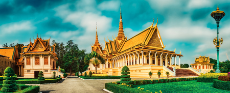 The throne hall inside the Royal Palace complex in Phnom Penh, Cambodia. Famous landmark and tourist attraction. Panorama