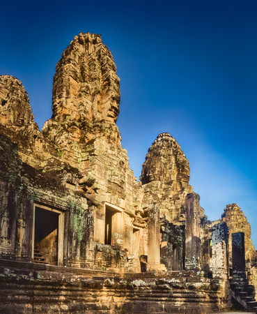 Bayon temple in Angkor Thom at morning time. Siem Reap. Cambodia. Panorama Stock Photo