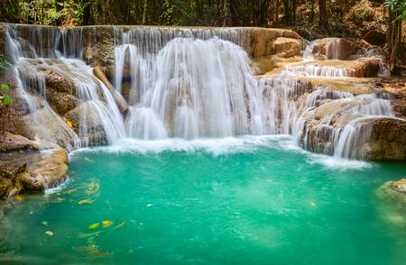 Beautiful waterfall Huai Mae Khamin at Kanchanaburi Province in west Thailand Banco de Imagens