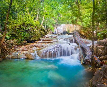 Beautiful waterfall at Erawan national park, Kanchanaburi Province in west Thailand Banco de Imagens