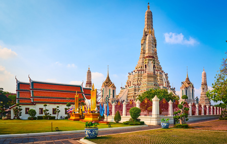 Beautiful view of War Arun a Buddhist temple in Bangkok Yai district of Bangkok,, Thailand.