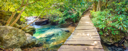 Beautiful waterfall at Erawan national park, Kanchanaburi Province in west Thailand. Panorama