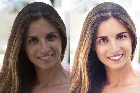 Antes y después de retocar el collage de fotos. Retoque de alta gama