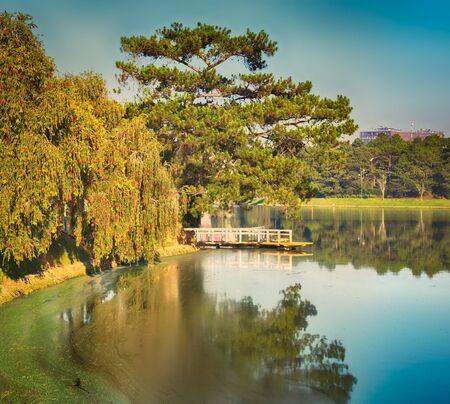 Amazing view of  Xuan Huong Lake at morning, Dalat, Vietnam. Panorama