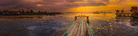 Beautiful view of sunrise at Penang. Yeoh jetty on the foreground.  Malaysia. Panorama