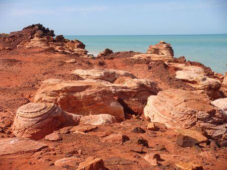 Rocky cliffs at Gantheaume Point, Broome, Western Australia Stock Photo