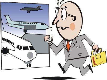 rushing: Airport business cartoon