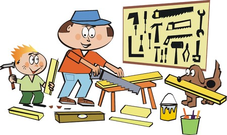 carpentry cartoon: Home workshop cartoon