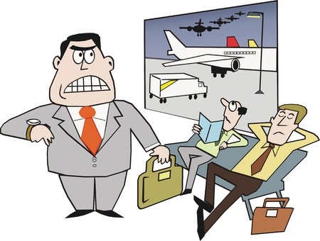 delay: Airport delay cartoon Illustration