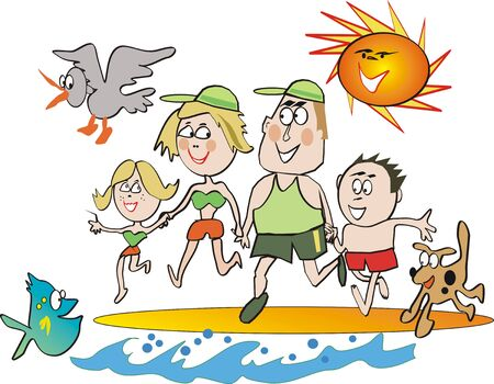 beach cartoon: Happy family beach cartoon