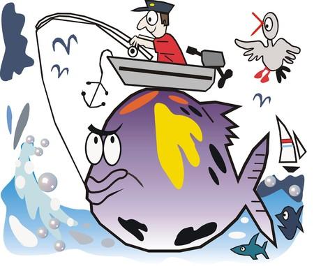 Fishing cartoon Vector