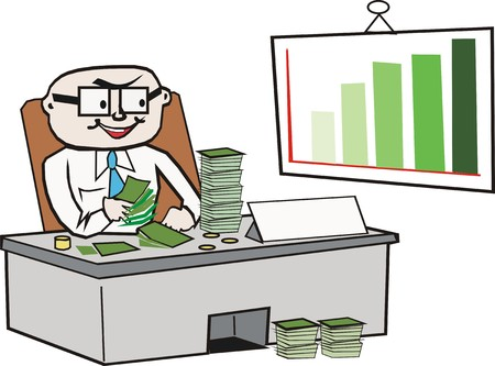 contando dinero: Caricatura de dinero recuento de empresario  Vectores