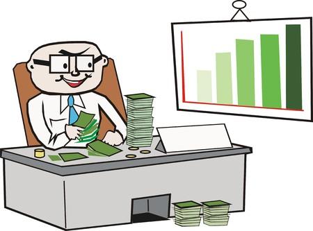 geld: Zakenman tellen geld cartoon