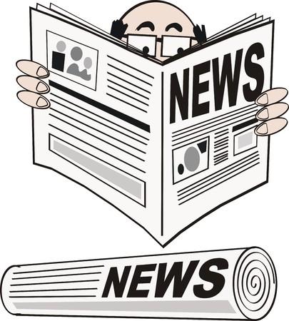 reading newspaper: Man reading newspaper cartoon Illustration