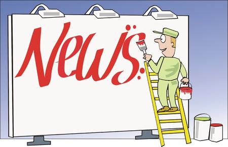 News sign cartoon Stock Vector - 6266965