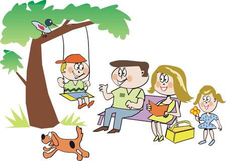 familia parque: Caricatura de familia en el Parque