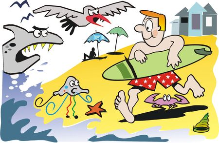 cartoon surfing: Beach surfer cartoon