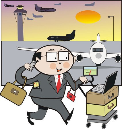 Airport departure cartoon Vector