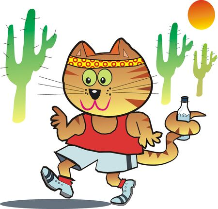 Running cat cartoon Vector
