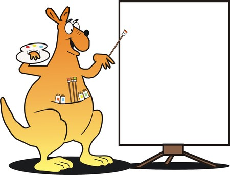 Happy kangaroo with sign Vector
