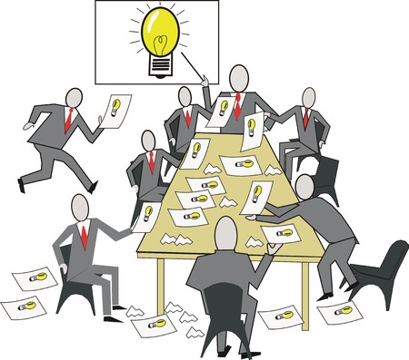 Reunión de dibujos animados de ideas de negocio  Foto de archivo - 6326944