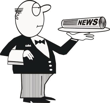 Butler with platter cartoon Stock Vector - 6377471