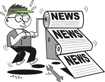 rollers: News printer cartoon
