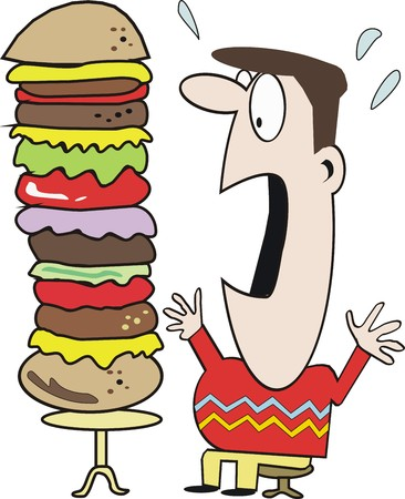 eating fast food: Funny hamburger cartoon Illustration