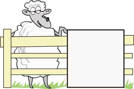 Cartoon sheep with sign Vector