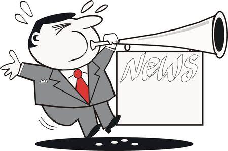 announcing: Businessman announcing news cartoon Illustration