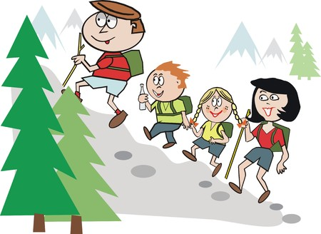 people hiking: Fun family hiking cartoon