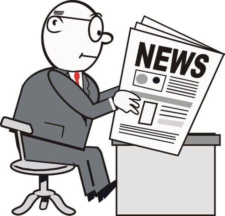 Dessin de presse d'affaires la lecture