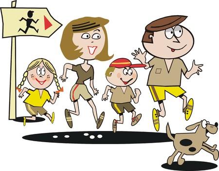 Family jogging cartoon Vector