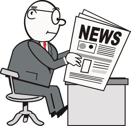 headline: Businessman reading newspaper cartoon Illustration