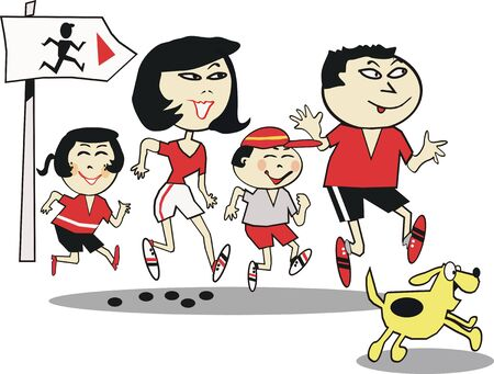 Asian family running cartoon Vector