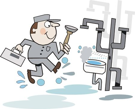 leaking: Plumber cartoon Illustration