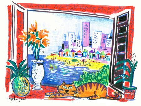 Colorful resort view illustration Stock Illustration - 18705437