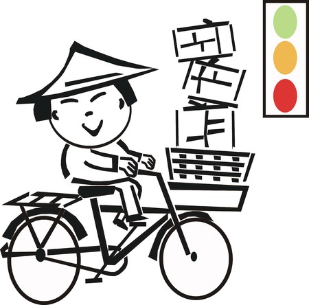 coolie hat: Asian bicycle cartoon