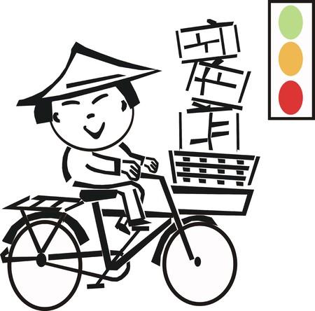 east riding: Asian bicycle cartoon