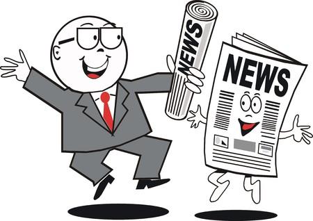 anunciar: Caricatura de noticias de negocios  Vectores