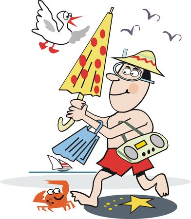 Funny beach cartoon Vector
